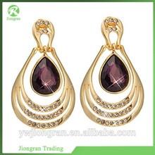 Major suit flower shape crystal earrings, fashion jade dangle earrings