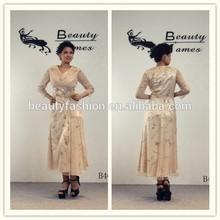 Champagne color long sleeve net fabric beads decorated elegant evening dresses & wedding dresses