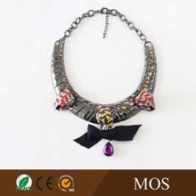 Big decoration size choker necklace with ribbon crystal and epoxy