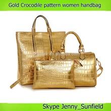 Golden women's shoulder bag 3 in 1 fashion women's leather handbag crocodile 2014 new