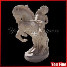 Stone Angel Boy Garden Statue Angel Marble Statue Carved Horse