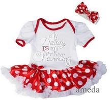 Baby Rhinestone My Daddy Is my Prince Charming Red Polka Dots Bodysuit Pettiskirt and Headband