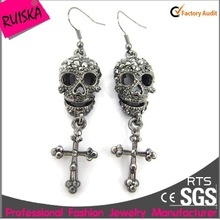 Gun Black Alloy Skull Cross Drop Accessories Earring Making Supplies