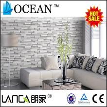 hot 3D wallpaper in popular wood brick stone designs vinyl wallpaper
