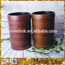 Wood grain design plastic top open dustbin
