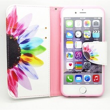 Flower Print Leather Cheap Mobile Phone Case For iphone 6,Fold Mobile Phone Case For iphone 6