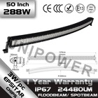 """Hot-sale C ree 288w Waterproof 50"""" led light bar curved for off road trucks/ 4x4/Jeep wrangler"""
