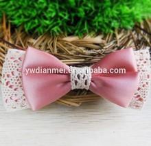 2015 Hot Selling pink Ribbon silk bow Hairband/hair ties/hair holder