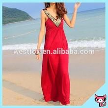 V neck red color free size dresses