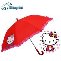 Lovely Kitten Prints Ruffles Edge Red Kid Umbrellas Price To Buy Online