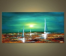 Sea and ship oil painting by handmade for home decoration