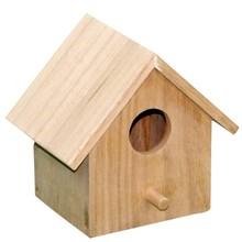 Miniatura artesanías de madera de casas de madera sin terminar sparrow pajareras