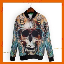 Fashionable Street Snap Boyfriend Stytle Skull Printing Womens Winter Jacket and Coat