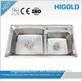 estilo europeu 304 açoinoxidável pia de cozinha duplo real