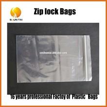 Clear plastic zip lock packaging bags