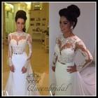 2015 Custom latest real A-line jewel neck gold sash long tail sexy fashion long sleeve wedding dresses