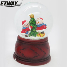 Resin & glass snow globe funny snowmen designs kid's gifts electric christmas snow globes