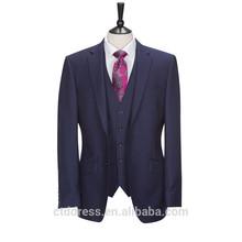 2015 nova moda azul marinho 3 peça homens uniforme escritório design for novo emprego