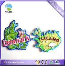 soft pvc rubber Denmark iceland national map advertising fridge magnet promotion
