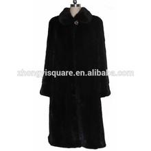 China fur shop hot selling long mink plets black women fur jackets