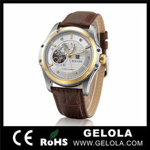 china alibaba import high quality stainless steel back crocodile strap watch for men , wholesale skeleton watch
