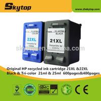 Original ink cartridge for hp 21XL &22XL recycled ink cartridge C9531AA & C9532AA