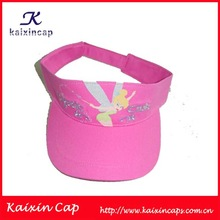 wholesale promotional cheap pink cotton children sun visor cap/hat with embroidery logo
