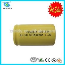 ni-cd sc 1500mah 9.6v rechargeable battery pack
