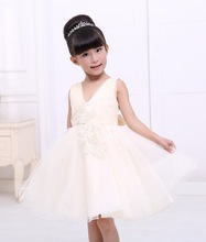 New hot evening dress champagne colors costume dress birthday party for 3-12 year-old children wear