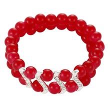 Luxury Beaded Shape Rhinestone Chinese Red Jade Bracelet Price 82389