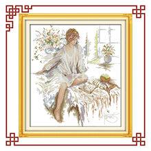 NKF The reading woman cross stitch decorative art