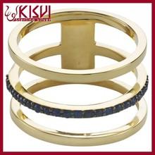 Fahion Black Zircon Finger Ring, Kisvi 925 Sterling Silver gold men ring Wholesale