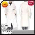 de moda de las señoras doble botonaduraa largo invierno abrigo blanco con cintura