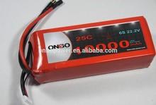 ONBO 10000mAh 22.2V 25C 6S1P Lipo Battery Pack. Excellent performance in UAV platform for aerial video, Ideal for DJI S800 EVO,