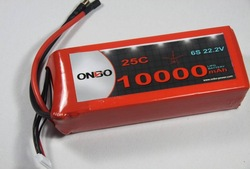 ONBO 10000mAh 22.2V 25C 6S1P Lipo Battery Pack. Excellent performance in UAV platform for aerial video, Ideal for DJI S800 EVO,