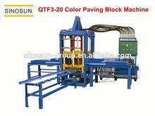 Good performance QTF3-20 semi-automatic concrete color paving block machine, used brick making machine