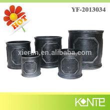 Flower Bucket,Ceramic Glazed Pottery Planter ,Oval Rustic Pot for Home Decor
