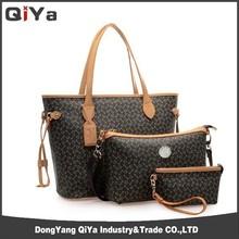 Fashion Black PU Lady Handbag Manufacturer Handbag Set