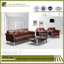 ZAINZI furniture personality design genuine brown leather sofa \Foshan metal framework leather sofa