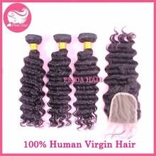 Deep Wave Mongolian Hair With Closure Bleached Knots Mongolian Hair Lace Closure With Bundles Human Virgin Hair Extension