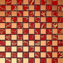 Classic Red Crystal With Flat Mirror Design Adornment Wall Brick Mosaic