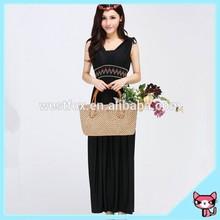 V Collar Black Lady Dress