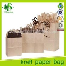Plain cheap brown paper bags with handles bag kraft paper bag