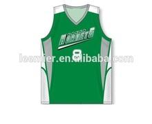 Custom made design 2014 basketball jersey green color