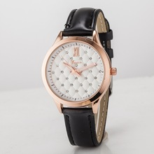 2015 newest style black leather watches women ladies girl wrist watches guangzhou manufacturer hot selling bracelet geneva watch