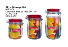 Set 3 Clear Glass Storage Jar with Leaflet inserted with Metal Clip Ceramic Lid