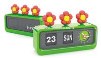Sun Flower Calendar Designs Plastic Table alarm Clock(HR-4689)