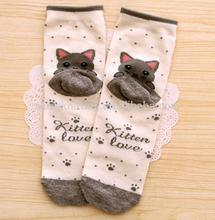 OEM cheap Custom high quality cute kittin love girls ankle Sock