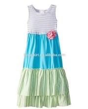 NEW!China supplier Wholesale girl dress Cotton Maxi Beach Dress Party Wear flower sky blue Ruffle long stripes remake girl Dress