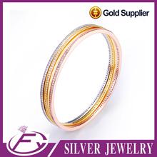 Customized dubai style 925 silver platinum plated 22k gold bangle